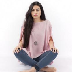 Pélerine Mérinos - Couleur : rose tendre