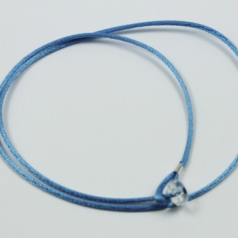 Collier cordon soie épais - Bleu