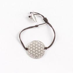 Bracelet Fleur de vie (cordon en soie) - Chocolat