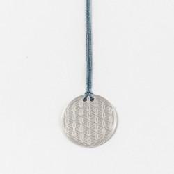 Collier - Fleur de vie gravée (cordon soie) - Bleu