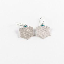 Boucles d'oreilles - Fleur sacrée - Turquoise