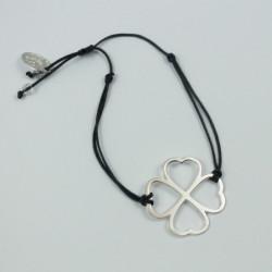 Bracelet - Coeur de fraternité (cordon soie) - Gris anthracite