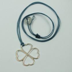 Collier - Coeur de fraternité (cordon soie) - Bleu