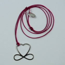 Collier - Coeur de liberté (cordon soie) - Fushia
