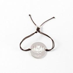 Bracelet - Fleur Cristal'In sur pastille (cordon soie) - Chocolat