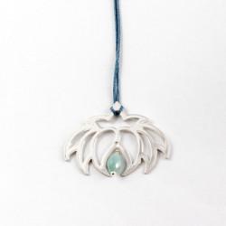 Collier - Fleur Cristal'In Amazonite (cordon soie) - Bleu