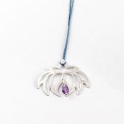 Collier - Fleur Cristal'In Améthyste (cordon soie) - Bleu
