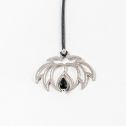 Collier - Fleur Cristal'In  Onyx noir (cordon soie) - Chocolat
