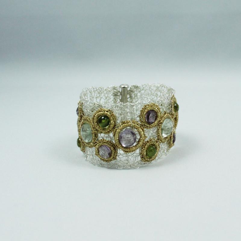 Bracelet équilibrant - Péridot, Améthyste, Améthyste Verte- Gold Thread