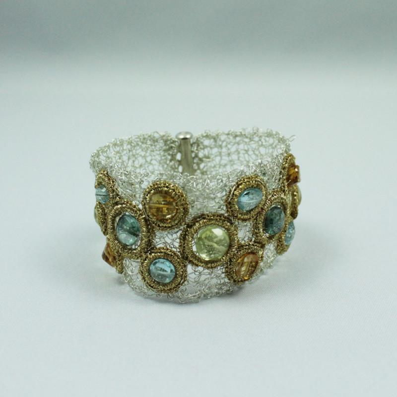 Bracelet équilibrant - Quartz Jaune, Quartz Vert, Citrine, Topaze Bleu -Gold Thread