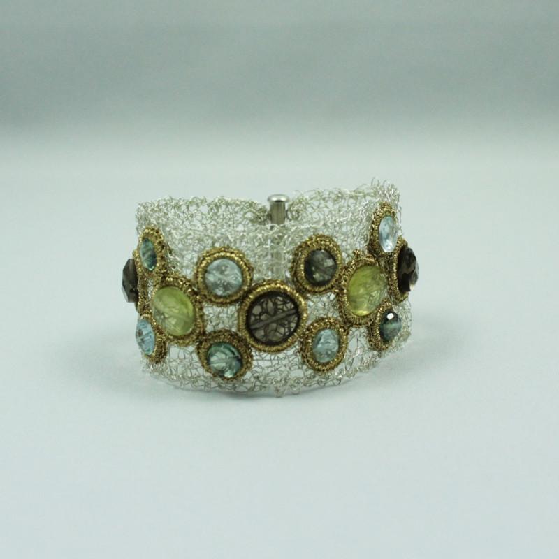 Bracelet équilibrant - Quartz Vert, Quartz Fumé, Topaze Bleu, Quartz Jaune -Gold Thread