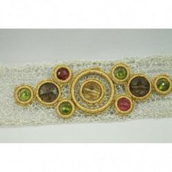 Bracelet équilibrant - Citrine, Quartz Fumé, Peridot, Tourmaline Rose - Gold Thread