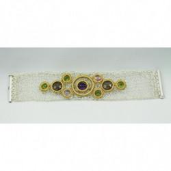 Bracelet équilibrant - Quartz Fumé, Améthyste, Péridot - Gold Thread