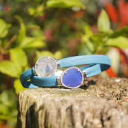 Bracelet équilibrant - Pierres & Cuir - Cuir jade & quartz rose