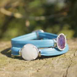 Bracelet équilibrant - Pierres & Cuir - Cuir améthyste & agathe