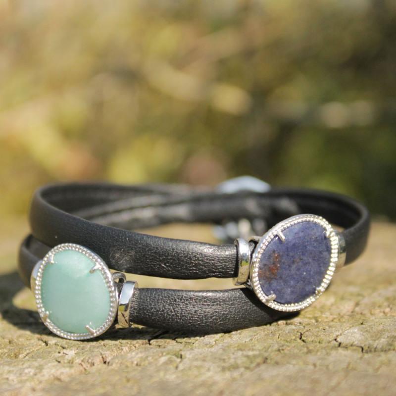 Bracelet équilibrant - Pierres : aventurine & quartz vert - Cuir noir