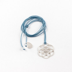 Collier - Graine de vie (cordon soie) - Bleu