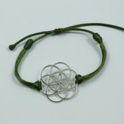 Bracelet Graine de vie (cordon en soie) - Kaki