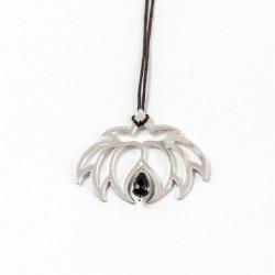 Collier - Fleur Cristal'In  Onyx noir (cordon soie) - Gris anthracite