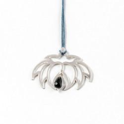 Collier - Fleur Cristal'In  Onyx noir (cordon soie) - Bleu