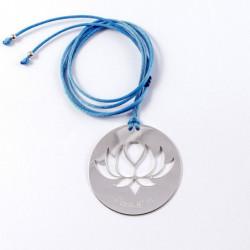 Collier - Fleur Cristal'In sur pastille (cordon soie) - Bleu