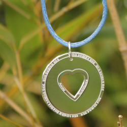 Collier - Amour & Gratitude (cordon soie) - Bleu