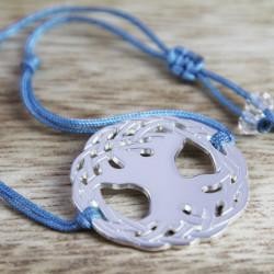 Bracelet Arbre sacré (cordon soie)  - Bleu