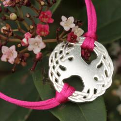 Bracelet Arbre sacré (cordon soie)  - Fushia