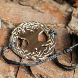 Bracelet Arbre sacré (cordon soie)  - Gris anthracite