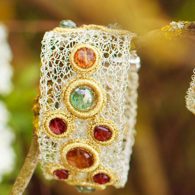 Bracelet équilibrant - Citrine - Grenat - Quartz vert - Gold Thread