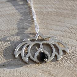 Collier - Fleur Cristal'In Onyx Noir (chaîne en argent)