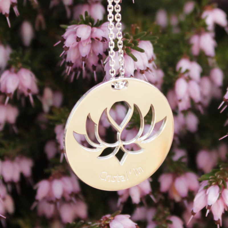 Collier - Fleur Cristal'In sur pastille (chaîne en argent)