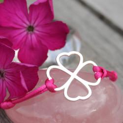 Bracelet - Coeur de fraternité (cordon soie) - Fushia
