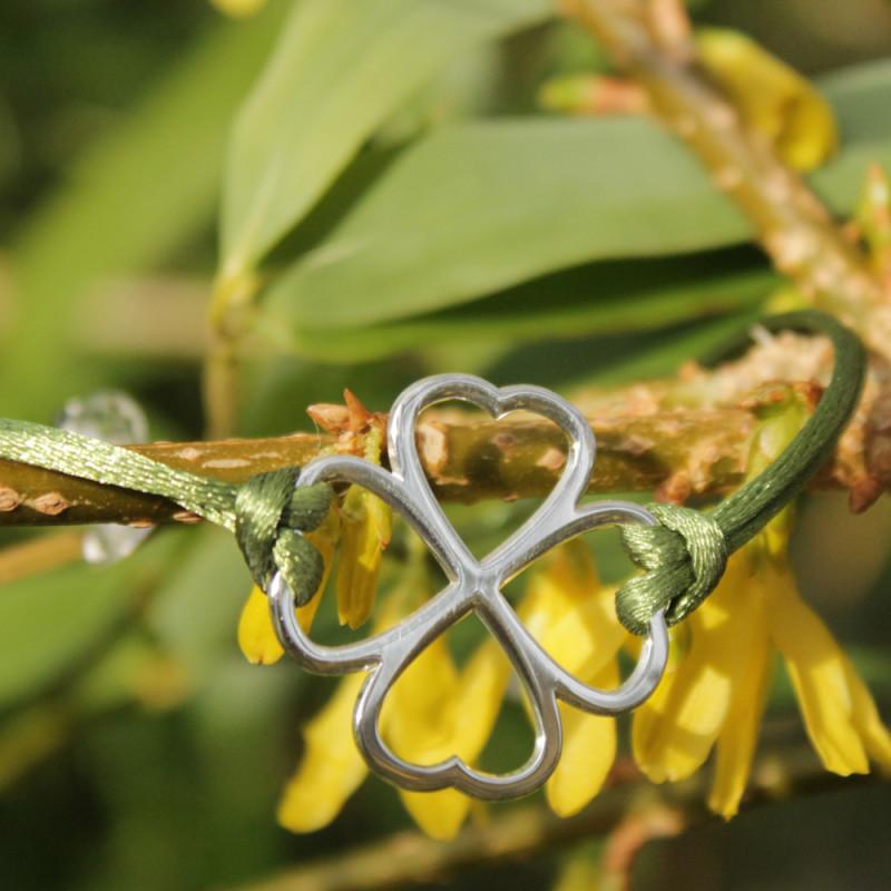 Bracelet - Coeur de fraternité (cordon soie) - Kaki