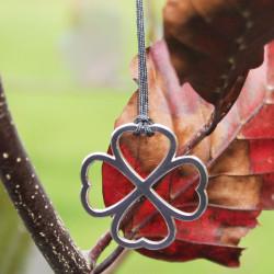 Collier - Coeur de fraternité (cordon soie) - Gris anthracite