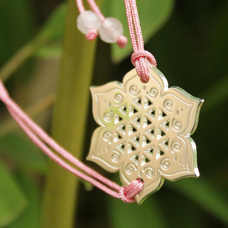 Bracelet Fleur sacrée (cordon soie) - Rose