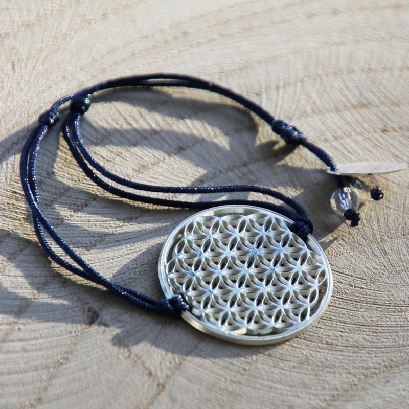 Bracelet Fleur de vie (cordon en soie) - Bleu foncé
