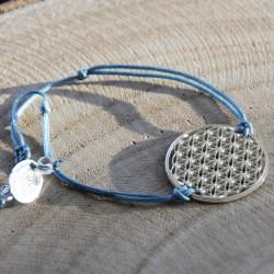 Bracelet Fleur de vie (cordon en soie) - Bleu