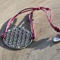 Bracelet Fleur de vie (cordon en soie) - Fushia
