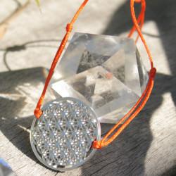 Bracelet Fleur de vie (cordon en soie) - Orange