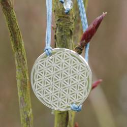 Bracelet Fleur de vie gravée (cordon en soie) - Bleu
