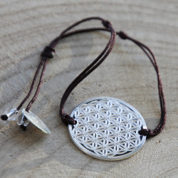Bracelet Fleur de vie gravée (cordon en soie) - Chocolat