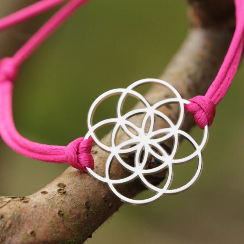 Bracelet Graine de vie (cordon en soie) - Fushia