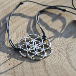 Bracelet Graine de vie (cordon en soie) - Gris anthracite