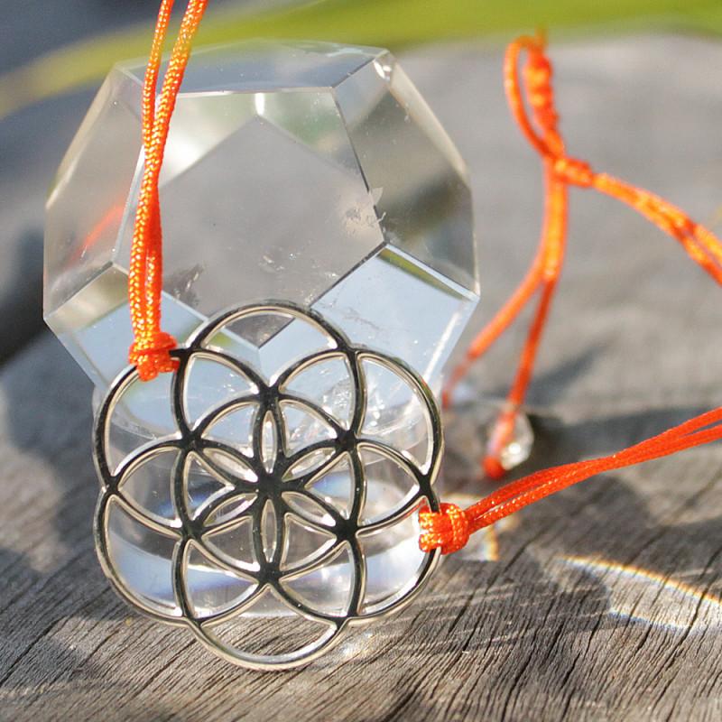 Bracelet Graine de vie (cordon en soie) - Orange