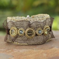Bracelet équilibrant - Topaze Bleu – Quartz Jaune - Gold Thread – Silver - Tissu