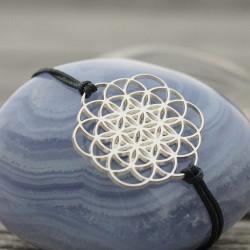 Bracelet Oeuf de vie (cordon en soie) - Gris anthracite