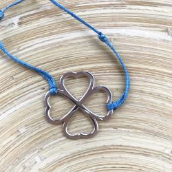 Bracelet - Coeur de fraternité (cordon soie) - Bleu