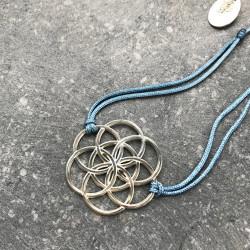 Bracelet Graine de vie (cordon en soie) - Bleu