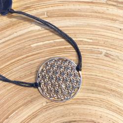 Bracelet Fleur de vie (cordon en soie) - Gris anthracite